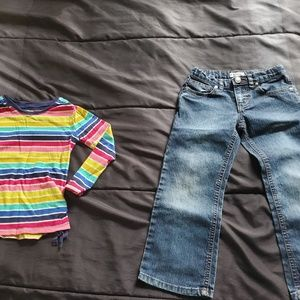 girls size 4 dark denim jeans striped top